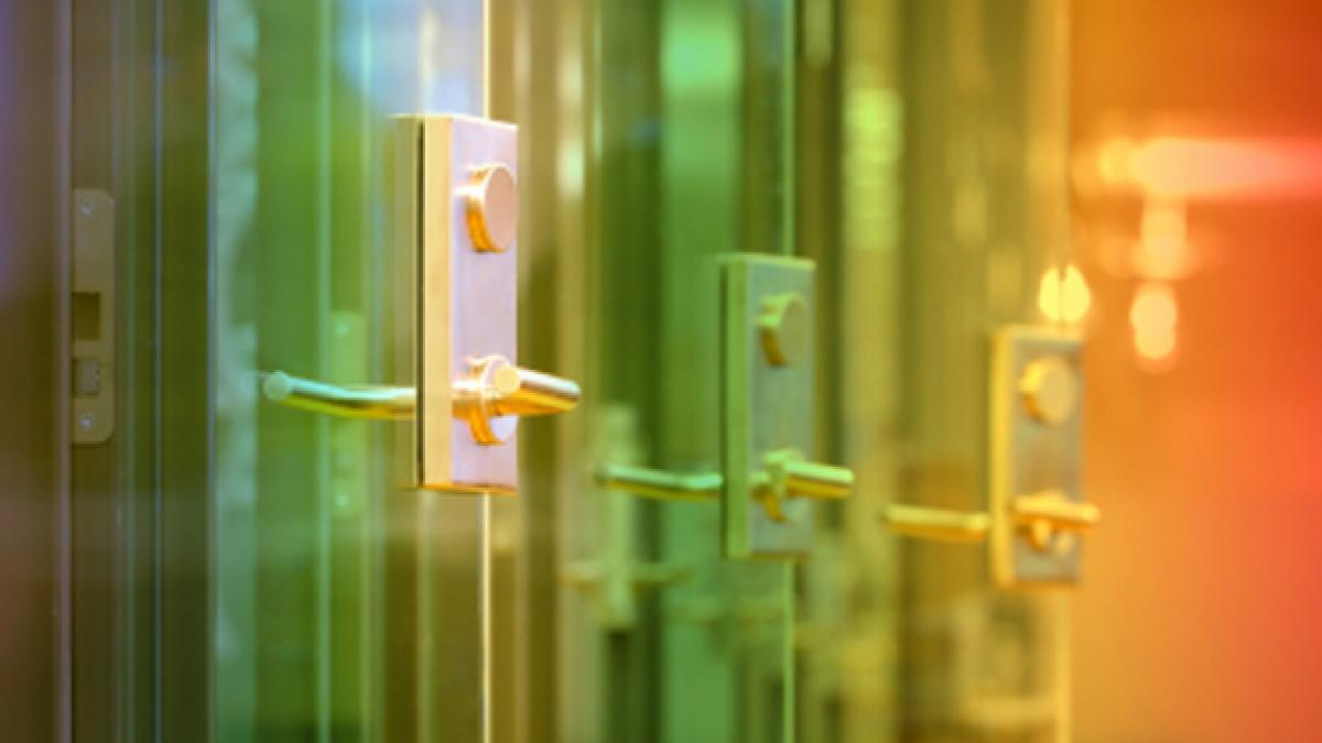 colored glass office doors